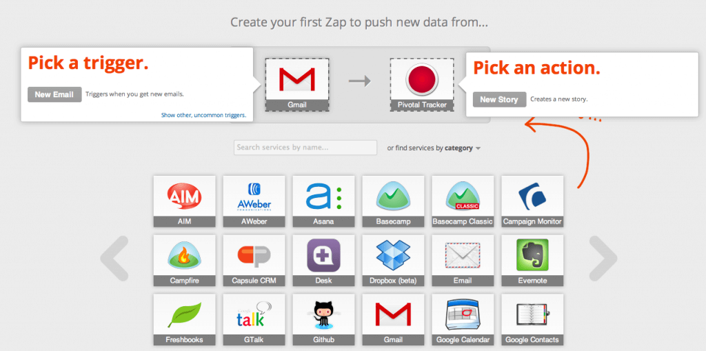 zapier hoempage screenshot