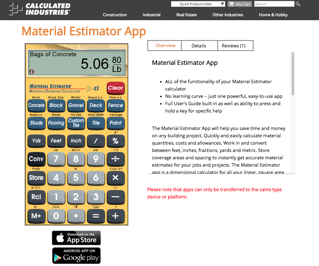 materials estimation calculator