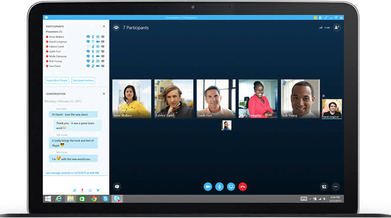 Skype display of multiple users on a call.