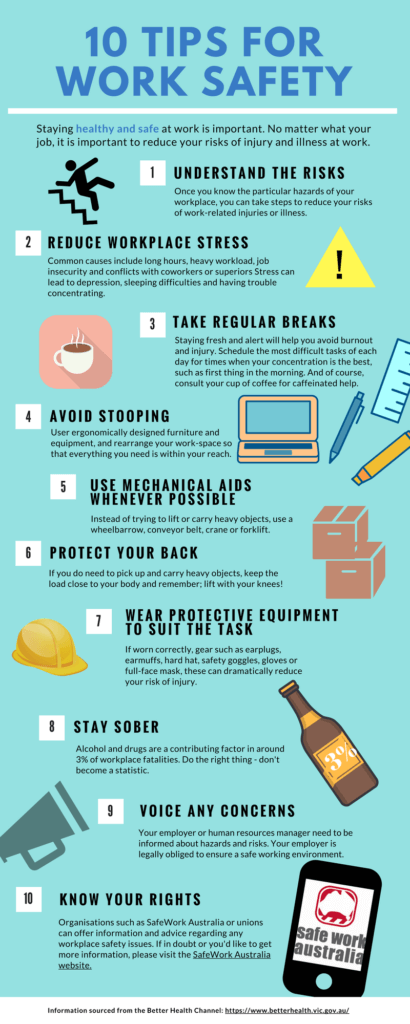 10 Tips for work safety Infographic