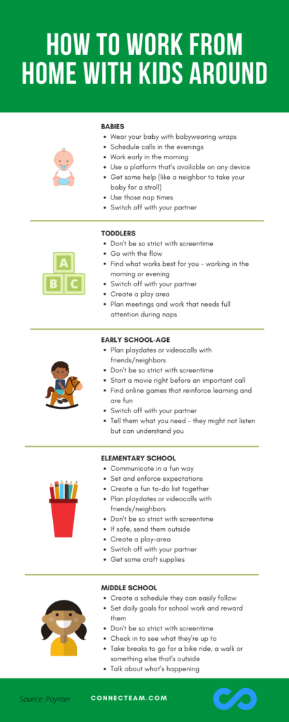 How to work from home with kids around Infographic - Connecteam