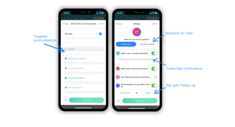 Targeted communication is easy on Connecteam's employee communication app