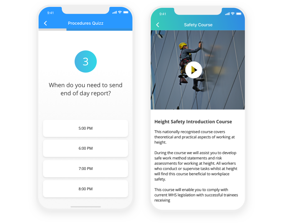 mobile first training app for employees