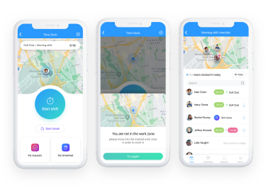cleaning employees geofencing time clock app
