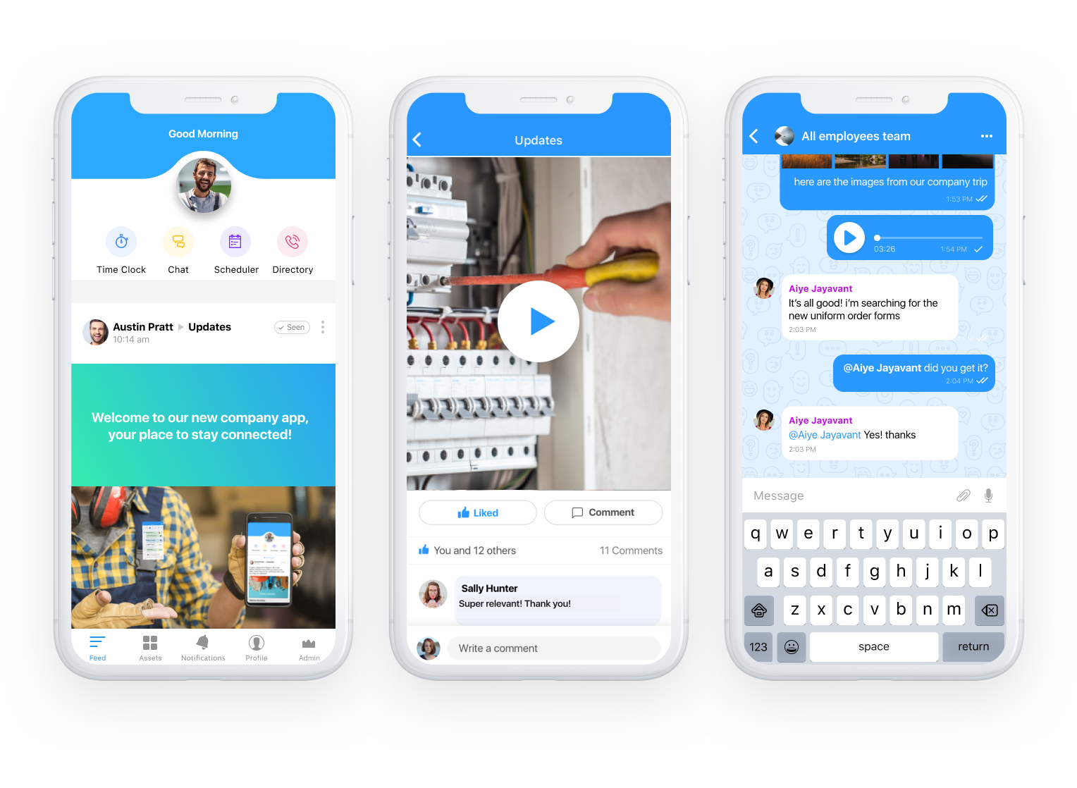 Communication app for field employees