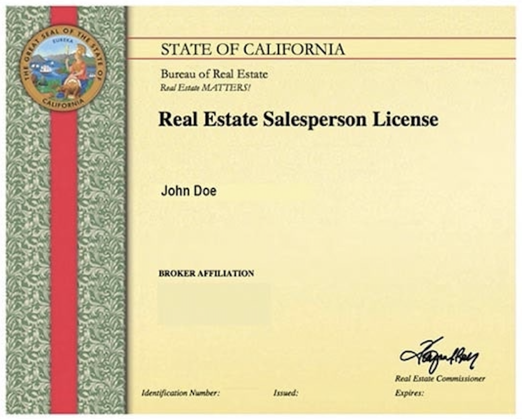 real estate salesperson license example